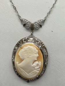 Cameo on Sterling Filagree Necklace