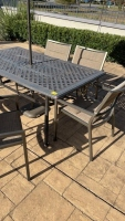 Outdoor Metal Table w/ Chairs & Umbrella - 3
