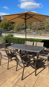 Outdoor Metal Table w/ Chairs & Umbrella